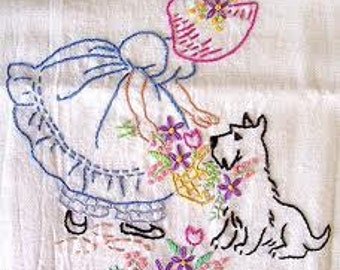 Customized Tea Towel- Hand Embroidered