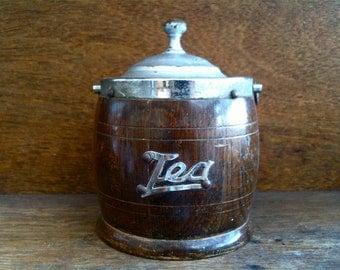 Vintage English small wooden wood tea caddie tin storage bowl circa 1960's / English Shop