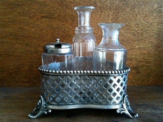 Antique English Cruet Holder with Crystal Bottles / English Shop