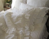 Custom order King ruffle duvet cover- with top sheet  cotton- SHABBY chic pin tuck bedding - ELEGANT ruffle sham-cotton lace rib trimmed