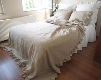 custom order LINEN ruffle duvet cover King size - solid white linen ruffled bedding - LUXURY bed linen bedding
