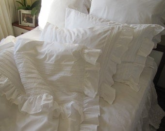 SHABBY chic pintuck bedding Full Queen King ruffle duvet cover- white or ivory cotton-  ELEGANT ruffle sham-cotton lace rib trim Nurdanceyiz