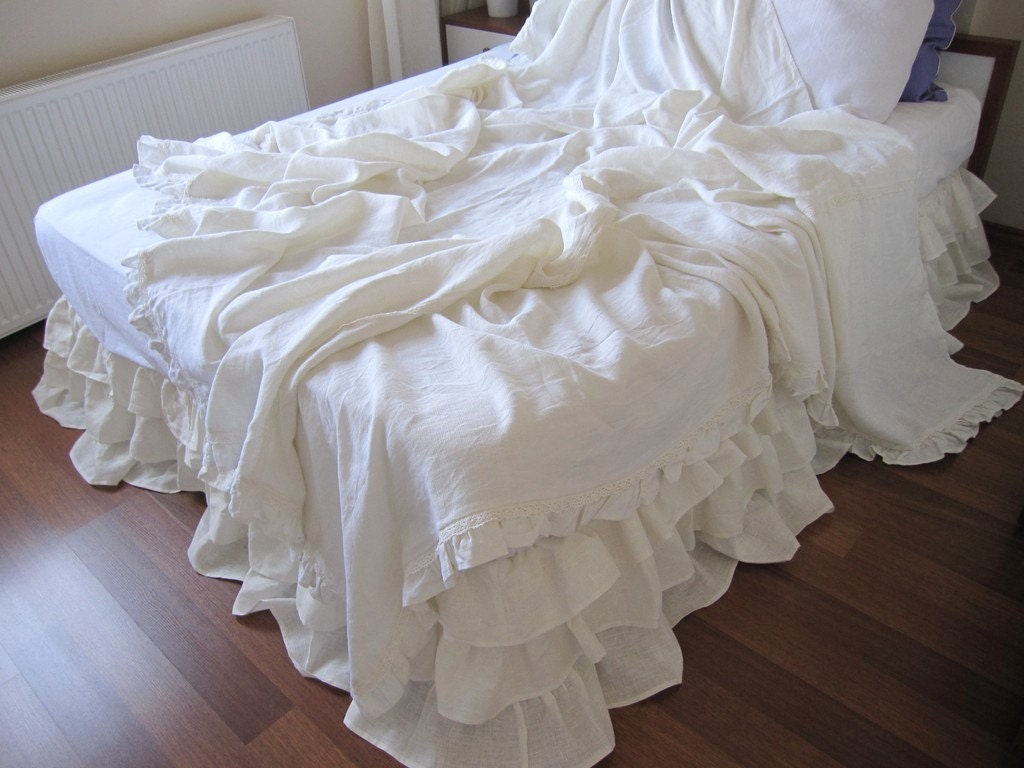 Shabby chic ruffle bedding solid white ivory pink gray linen for Frilly bedspreads