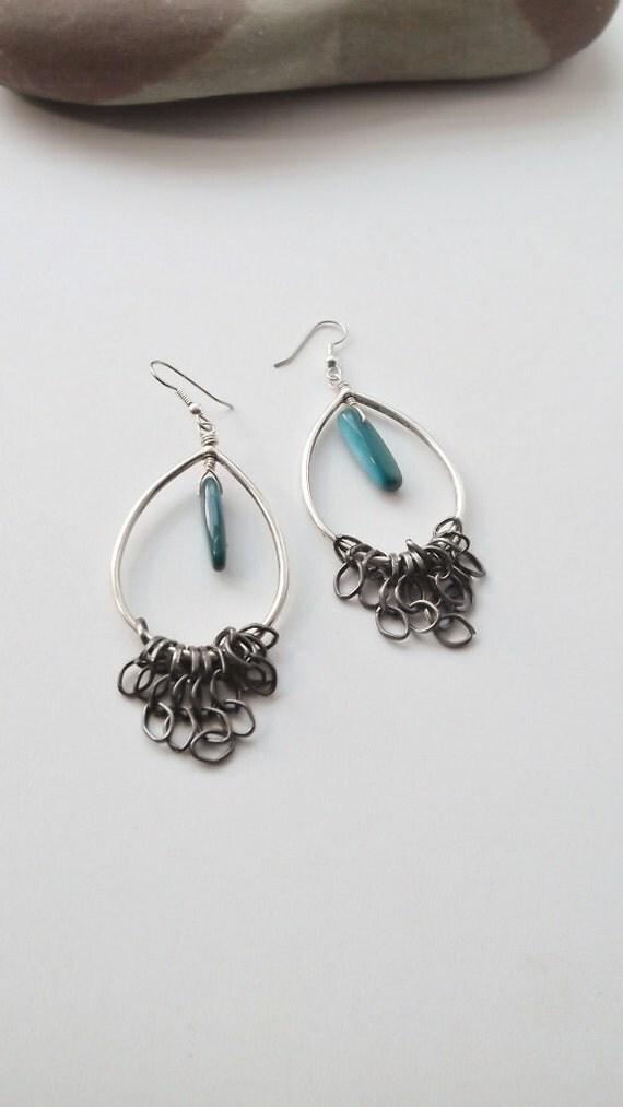 SALE, SOA Fierce Mother Tear Stick Shell Gunmetal Chain Fringe Teardrop Earrings, Free Shipping
