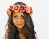 Autumn Rose Crown - Pumpkin Peach and Dusty Rose Flower Crown - Lana Del Ray, Roses, Autumn Wedding, Fall Fashion