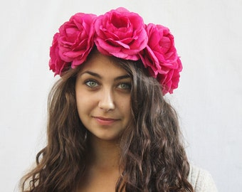 Pink Rose Flower Crown, Fiesta, Rose Headdress, Frida Kahlo, Rose Crown, Floral Crown, Pink Rose, Dia de los Muertos
