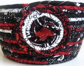 Dramatic Coiled Rope Basket  Black and White with Touch of Red