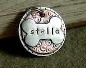 Custom pet id tag in mixed metal- gracie