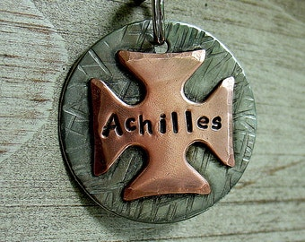 Large Custom pet ID tag-personalized maltese cross ID tag for big dogs-Achilles