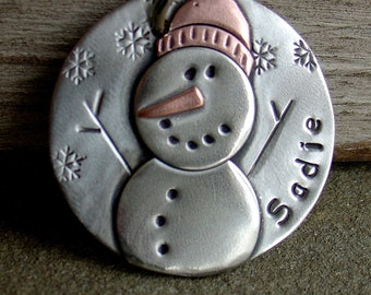 Winter and Christmas Dog ID Tag- Snowman- 3 sizes