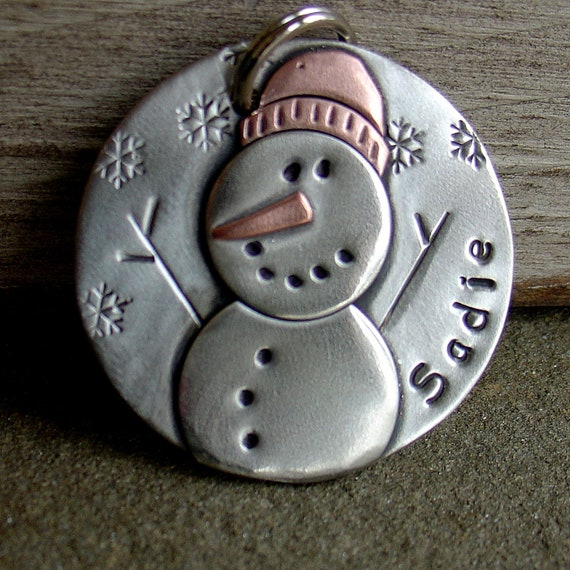 Winter and Christmas Dog ID Tag Snowman 3 sizes by DoggoneTags