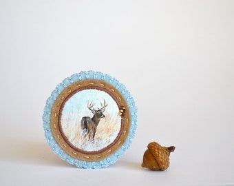 felt brooch with antler deer stag - natural history brooch - animal brooch - woodlands brooch - pastel blue and brown brooch