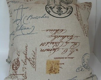 """French Script Pillow Covers - Two (2)  Depicting Addresses, Postal Marks, Stamps Made to Fit 18"""" x 18"""" Inserts"""