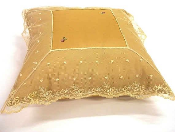 Cushion cover throw pillow golden Beige with rich French Lace appliqued and small flowers of Swarovski crystals sofa girl's home decoration