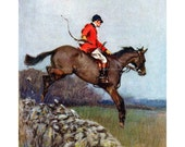Horse Fridge Magnet - Fox Hunting Second Whip Rider Jumps Wall