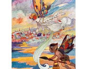 Rainbow Fairies Card - Faeries Paint Sky After Storm - Vintage Style - Charles Robinson Repro