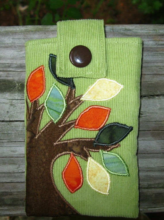 batik tree iPod cozy padded pouch with pocket handmade one-of-a-kind