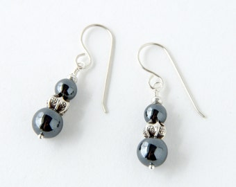 Hematite and Thai Silver Dangle Earrings, Bohemian Gypsy Boho Shabby Chic Jewelry, Elven Earrings, Tribal Fusion Belly Dance