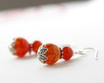 Orange Red Scale Agate with Thai Silver Earrings, Spiderweb Carnelian, Bohemian, Large Gyspy Dangle Earrings, Boho Shabby Chic