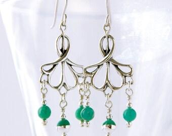 Art Nouveau Victorian Style Chandelier Earrings, Wedding Earrings,Teal Russian Amazonite Steampunk Dangle Earrings, Elvish Bridal Jewelry