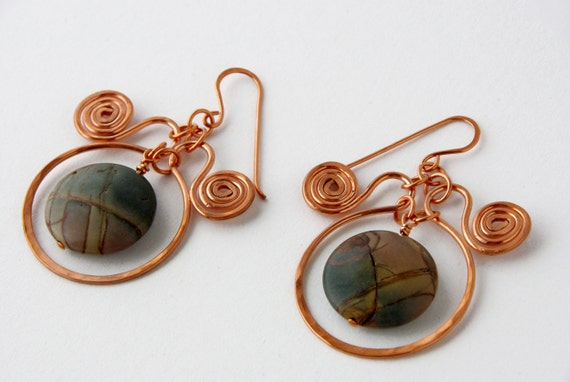 Earthy Grey Taup Brown Picture Jasper and copper spiral earrings