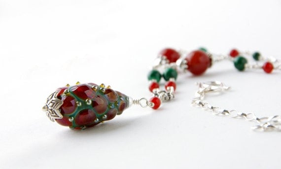 Steam Punk Christmas Bohemain Green Turquiose with Red Carnelian and Lampwork Pendant Princess Necklace, Victorian Art Nouveau Elven