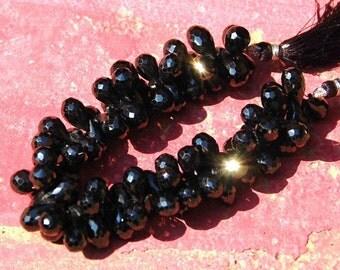 10 11-12mm BLACK SPINEL  faceted briolettes spdr01