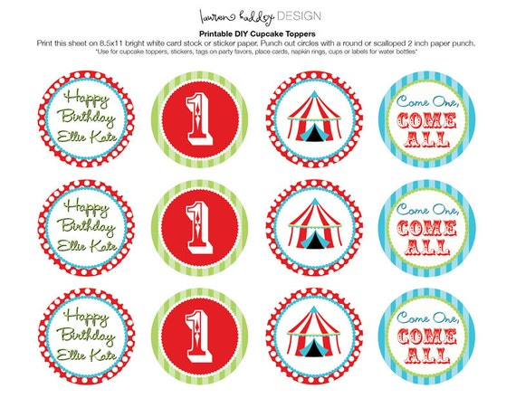 Carnival circus themed animal cupcake toppers picks decorations - Diy Printable Vintage Circus Cupcake Toppers