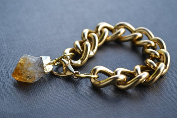 Chunky Gold Chain Bracelet with Citrine Crystal Point