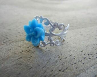Light Blue Flower on White Filigree Ring