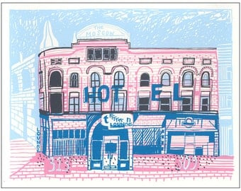 Screenprint of Moscow Hotel Building/Garden Lounge on Main Street in Moscow, ID