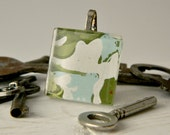 Vintage Wallpaper Pendant - forest green, light blue, and white - square