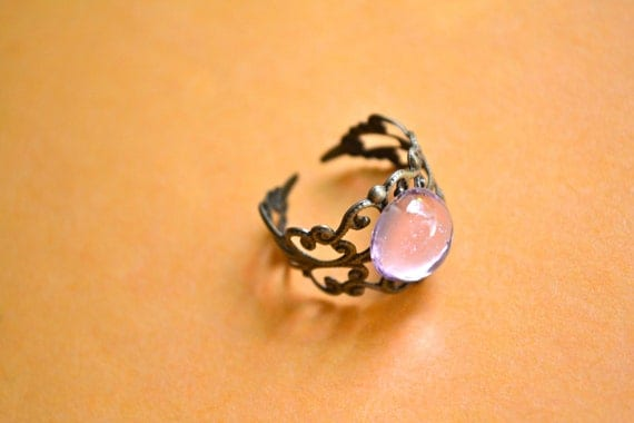Queen Eva Ring, Round PINK Dome, Adjustable Copper/Brass Ring, VINTAGE Inspirred Made in the USA