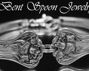 Spoon Jewelry, Spoon Bracelet, Mystic 1903 Antique Silver Spoon Bracelet, Silverware Jewelry