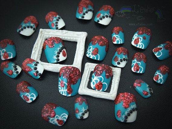 Halloween: Horror Red Blood Glitter Teal and Lace Fake Nails Set (Ready to Ship)