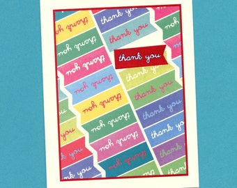 UNITED COLORS Of THANKS - Thank You Card - Thanks - Thanks Card - Thank You Notes - Greeting Card - Card - Banners - Thank U - Item# S024