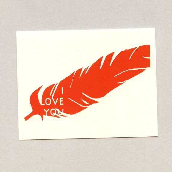 FEATHER OF LOVE - I Love You Card - Love Card - Card for Boyfriend - Valentine Card - Love Card For Him - Valentine - Feather - Item# L012