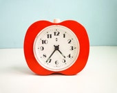 Vintage 80s Alarm Clock Red Orange Apple Working