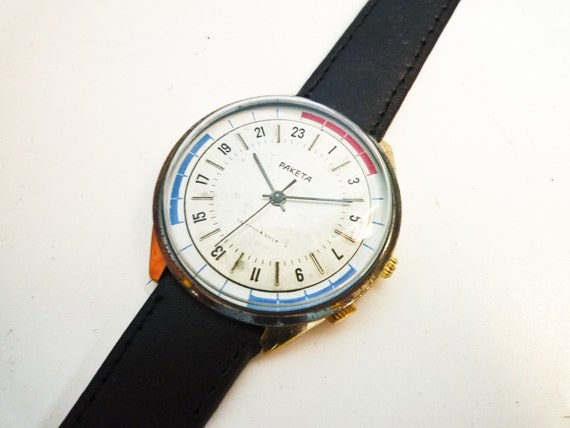 Raketa 24h Marine Soviet Wrist Watch Mechanical Manual Wind