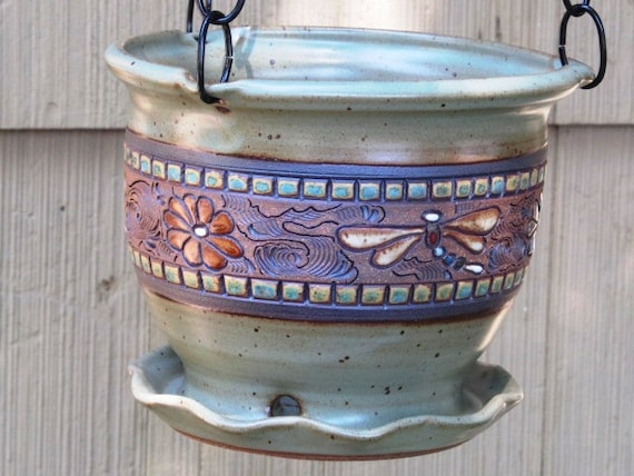 Hanging Planter With Flowers, Dragonflies, And Swirl Design