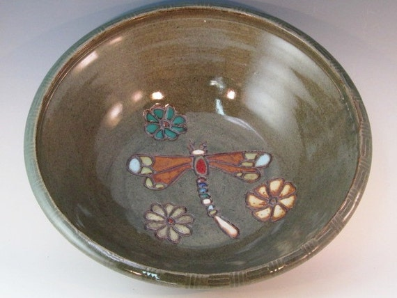 Large Outstanding Bowl With Dragonfly And Flowers Carved Inside The Bowl
