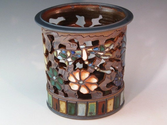 Lovely Luminaire With Dragonflies, Flowers, And Swirl Design
