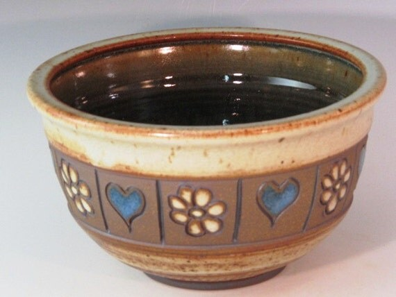 Medium Bowl With Flowers And Blue Hearts And Texturing On The Bottom