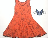 Fire Orange 1920's Jazz Flapper Dress