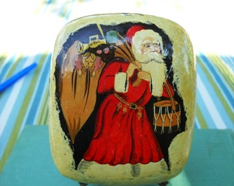 vintage santa paper mache box
