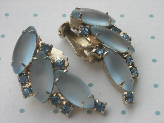 Vintage 1950s Blue Rhinestone Earrings Ear Climbers