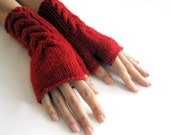 RED Fingerless Gloves, Wool Mittens, Arm Warmers with cable pattern, Hand Knitted, Eco Friendly