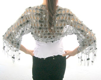 COTTON SHRUG  ....Elegant Hand Knitted  Shrug in  Gray with some black and white