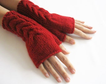 Knit Fingerless gloves | Knitted Fingerless Mittens | Arm Warmers | Boho Glove | Red Fingerless Gloves