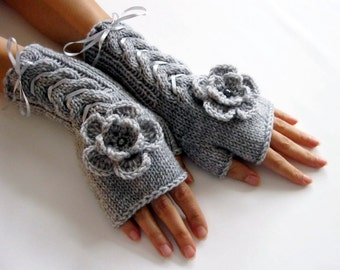 GRAY...Fingerless Gloves, Wool Mittens, Arm Warmers with cable pattern and crochet flowers, Hand Knitted, Eco Friendly